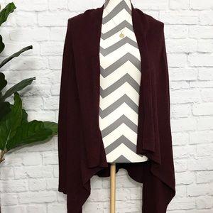 Sweaters - H&M maroon asymmetrical knit cardigan